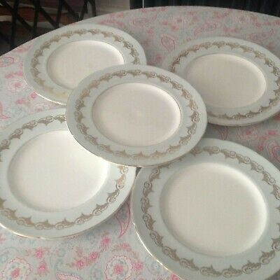 """5 x vintage duck-egg blue/gold 10 1/2"""" china DINNER plates plate"""