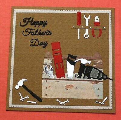 Brown Happy Fathers Day Handmade Card DIY Card Making Kit Tools Toolbox Handyman