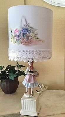 Antique County French Porcelain Figural Lamp With New Designer Shade