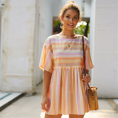 Ladies Short Sleeve Striped Backless Casual Loose Sundress Fashion Leisure Dress