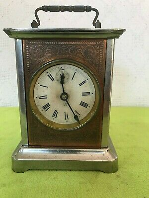 Antique Waterbury Carriage Alarm Mantle Clock 1900's