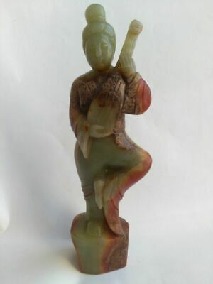 Certificate of Chinese Natural Color Hetian Jade Ancient Singing Woman Statue