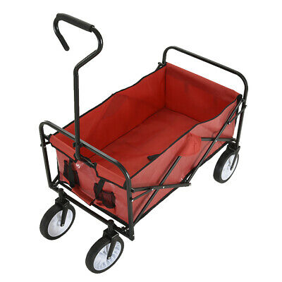 Red Folding Hand Cart Garden Wagon Trolley Pull-Along Festival Camping XL 100kg