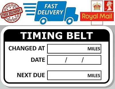 52 x Timing Belt Reminder labels Service Record Stickers date miles next due