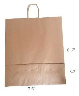 """Brown Twist Handle Paper Party and Gift Carrier Bags 7.6 x 8.6 + 3.20"""" X Small"""