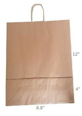 """Brown Twist Handle Paper Party and Gift Carrier Bags 8.8x12+4"""" Small 