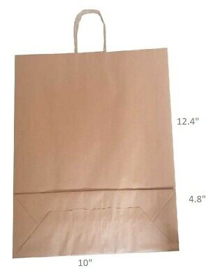 """Brown Twist Handle Paper Party and Gift Carrier Bags 10x12.4+4.8"""" Medium Large"""