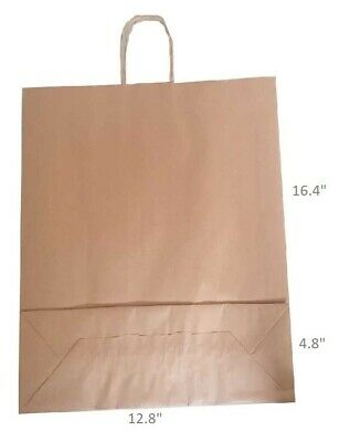 """Brown Twist Handle Paper Party and Gift Carrier Bags 12.8x16.4+4.8""""  Large Bags"""