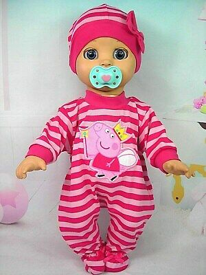Dolls clothes for LUVABELLA DOLL~PEPPA PIG PINK STRIPED JUMPSUIT & HAT