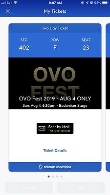 2 Tickets (One Pair) - Drake Ovo Fest 2019 2 Day Pass Aug 4 & 5 Toronto Sec 402