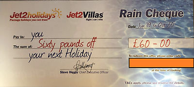 100 xNew Summer 2020 Jet2Holidays £60 Rain Cheque voucher - OCT 2020 new codes
