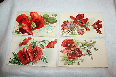 Red Poppy Poppies Best Wishes Postcards ECC Embossed Postcards Antique (4)