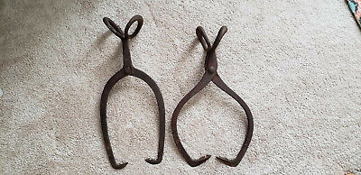 2 Vintage antique iron ice block tongs / logging hooks / hay tools