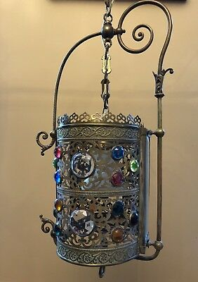 Antique Gas Victorian Brass Jeweled Shade Harp Hall Hoop Chandelier Lantern Lamp