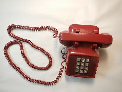 Vintage RED Touch Tone TELEPHONE Push Button Desk Phone Western Electric BELL