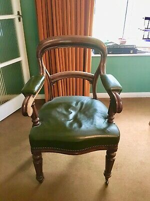 Antique Leather and Oak Captains chair
