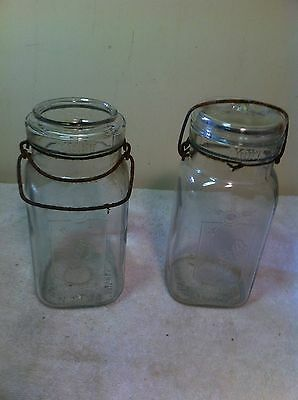Vintage Queen Wide Mouth Canning Mason Jars Square Quart Set Of 2 Rare