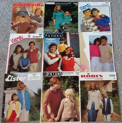 Family Bundle / Job Lot Collection Of 9 Knitting Patterns