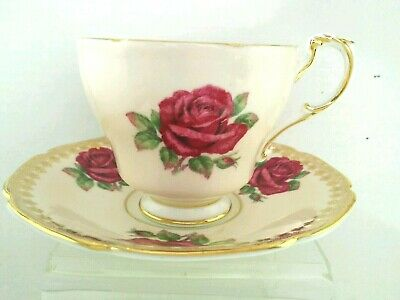 TW. PARAGON Ruby Red Cabbage Roses Bone China Tea Cup and Saucer England
