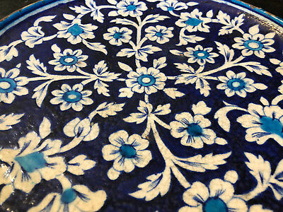 Dish Ottoman Ceramic Flowers White Background Blue Antique Ceramic Flowers
