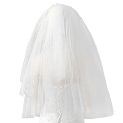 Fashion Wedding Veil Simple Tulle White Two Layers Bridal Veil Bride Access O1B3