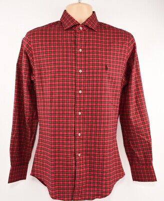 POLO RALPH LAUREN Men's Slim Fit Casual Shirt, Red Checked, size SMALL
