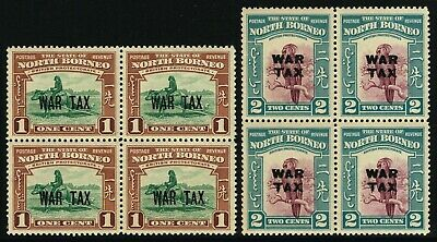 Sg 318 & 319 North Borneo 1941 War Stamps In Blocks Of 4 - Unmounted Mint