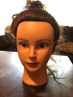 Hair Mannequin Long Brown Human Hair Cosmetology TrainingHead Training Head