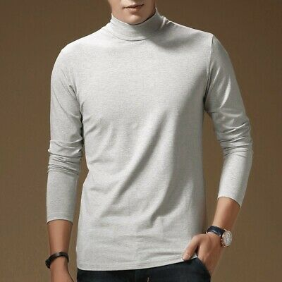 Men's Turtleneck Tops Pullover Slim fit Shirts Thicken Base shirt Stretch Casual