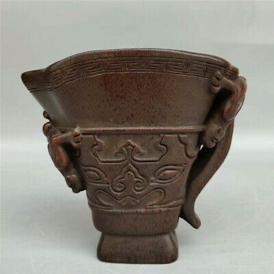 Collect Old Chinese natural Ox horn Hand carved chilong Dragon Ox horn wine cup