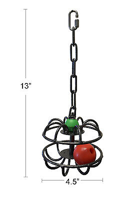 NEW Indestructible Metal Foraging Toy with rolling ball for Bird Parrot
