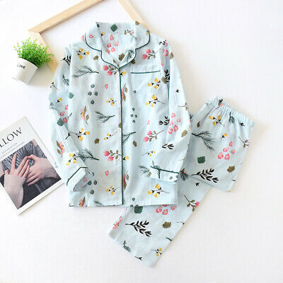 Womens Long Sleeve Pyjama Set 100% Gauze Cotton Printing PJ'S Sleepwear Homewear