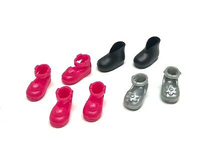 4 Pairs Of Barbie Mattel Chelsea Doll Fashion Shoes, Pink, Silver, & Black Boots