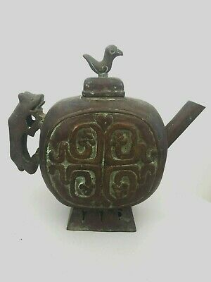 Antique rare chinese bronze wine ewer 17th 18th century? jug ritual Zhou dynasty
