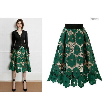 Black Green Women Lace Mesh Tulle long Skirt Floral Party Hollowed Loose Skirts