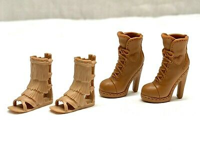 2 Pairs Of Barbie Mattel Doll Fashion Shoes, Brown, High Heel Boots, Sandal Flat