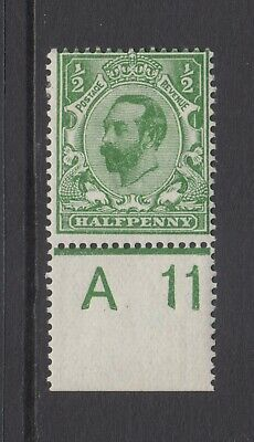 GB KGV 1/2d Green SG322 Control A11 Halfpenny George V 1911 Mint Hinged Stamp