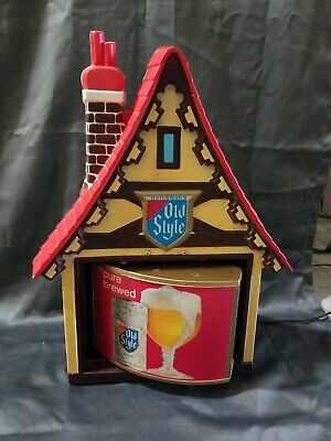 Vintage Heilemans Old Style Beer Lighted Swiss Chalet Motion Sign