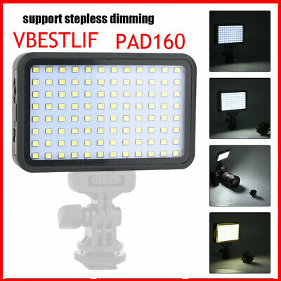 VBESTLIFE PAD160 Video LED Light Stepless Dimmable with NP-F550 Battery Charger