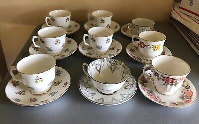 Lot 18 pc. Vintage Fine Bone China set of 9 Tea Cup and Saucer