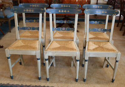 Set 6 Cottage Country Chic Rush Seated Paint Decorated Dining Chairs