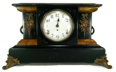 antique SETH THOMAS mantel clock ANTIQUE metal face scroll vintage pendulum