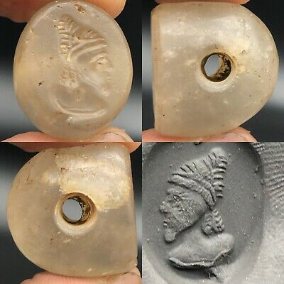 Ancient Rare Unique Roman King face Crystal intaglio Stone Seal bead