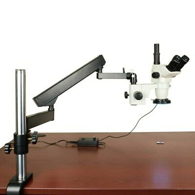 OMAX 6.7X-45X Articulating Arm Zoom Microscope+144 LED Light for PCB Inspection