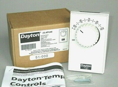 Line Voltage Electric Heating Wall Thermostat DPST 4-Wire Grainger Dayton 4PU48