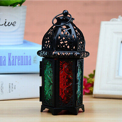 Candle Holder Moroccan Style Iron Chandelier Glass Candle Lantern Black