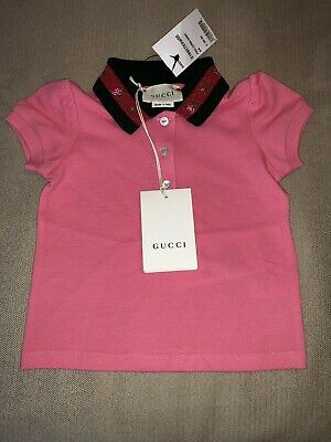 649da2ec8 Gucci Polo Embroidered Shirt Puff Girls Size 6-9 Months Pink 100% AUTHENTIC