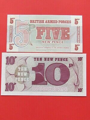 British Armed Forces ( 1950-60 ) 10 & 5 Pence Beautiful Rare Bank Notes,Unc