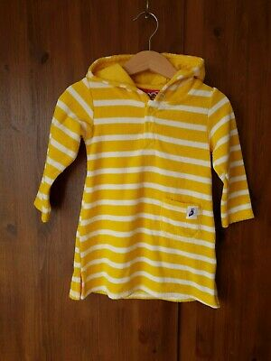 JOHN LEWIS DRESS Yellow & White Striped Terry Towelling Hooded 9-12 Months - NEW