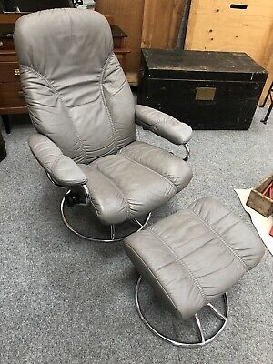 Ekornes Stressless Grey Leather Recliner Chair And Stool